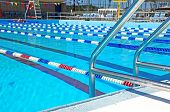 stock photo of swim meet  - Community swimming pool with swim lanes - JPG