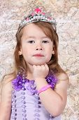 image of toddlers tiaras  - Little girl Dressed as Princess for halloween - JPG