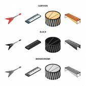Musical Instrument Cartoon, Black, Monochrome Icons In Set Collection For Design. String And Wind In poster