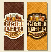 Vector Banners For Craft Beer, Flyers With Pint Glasses Of Draft Czech Pilsner And Bottles Of Craft  poster