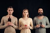Guys Hold Cup, Flask With Alcohol, Bottle. Company Of Friends Spend Leisure With Drinks. Alcohol, Ad poster