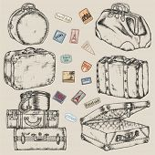 stock photo of old suitcase  - Set of old vintage suitcases and road labels - JPG