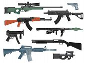 Set Of Weapons Guns Isolated On White Background. Flat Design. Vector Illustration poster
