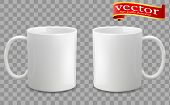 Photo Realistic White Cup Isolated On The Transparent Background. Design Template For Mock Up. Vecto poster