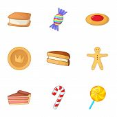 Confectionery Icons Set. Cartoon Illustration Of 9 Confectionery Icons For Web poster