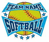 Textured Softball Team Name Design Is An Illustration Of A Softball Design With A Banner For Your Te poster