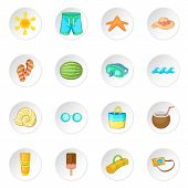 Summer Items Icons Set. Cartoon Illustration Of 16 Summer Items Icons For Web poster