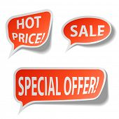 Постер, плакат: Теги пузырь Красного продажа изолированные на белом