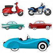 Постер, плакат: Классические автомобили и мотоциклы