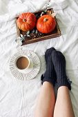 Autumn Bed Still Life. Female Legs In Knitted Socks And Cup Of Coffee. Wooden Tray With Pumpkins, Eu poster