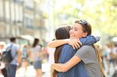 Friends Meeting And Hugging In The Street poster