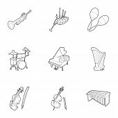 Musical Instruments Icons Set. Outline Illustration Of 9 Musical Instruments Icons For Web poster