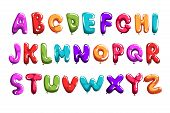 Set Of Colorful Font In Form Balloons. Children S English Alphabet. Letters From A To Z. Abc Concept poster