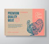 Premium Quality Turkey Vector Meat Packaging Label Design On A Craft Cardboard Box Container. Modern poster