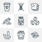 Nutrition Icons Line Style Set With Gluten Free, Coffee Bean, Restaurant And Other Nut Creamy Elemen poster