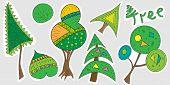 A Set Of Cartoon Tree Stickers. Baby Vector Illustration Of Trees, Christmas Tree, Bush, Inscription poster