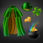 Vector Set Of Saint Patricks Day Elements, Isolated On Background. Green Cape Of Leprechaun, Bowler  poster