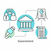 Government Concept Icon. Politics Idea Thin Line Illustration. Publicity. Political Campaign. Govern poster