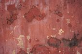 Faded Red Painted Wall With Blotches Of Color Abstract Horizontal Background Texture poster