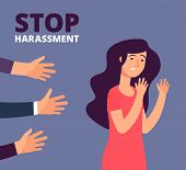 Sexual Harassment Concept. Woman And Mans Hands. Stop Abuse, Against Violence Vector Background. Sto poster