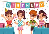 Children Birthday Party. Kids Celebrating Anniversary. Vector Birthday Background With Cartoon Boys  poster