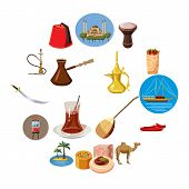 Cartoon Turkey Icons Set. Universal Turkey Icons To Use For Web And Mobile Ui, Set Of Basic Turkey E poster