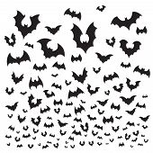 Flying Halloween Bat. Cave Bats Flock Silhouette Fly At Sky. Scary Vampire Flittermouse Vector Backg poster