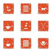 Post War Assistance Icons Set. Grunge Set Of 9 Post War Assistance Icons For Web Isolated On White B poster