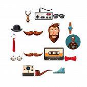 Hipster Items Icons Set. Cartoon Illustration Of 16 Hipster Items Icons For Web poster
