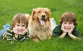 picture of happy dog  - Two Boys and a Dog With Big Smiles - JPG