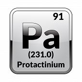 Protactinium Symbol.chemical Element Of The Periodic Table On A Glossy White Background In A Silver  poster