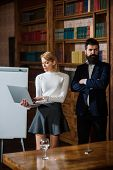 Notebook Concept. Sensual Woman Use Notebook Computer. Business Man And Woman Surfing Internet With  poster