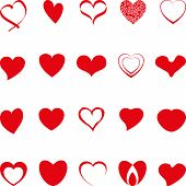 Various Hearts In Red, Hearts Collection, Hearts Icon poster