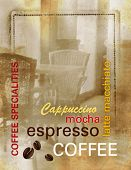 Grunge coffee background - coffee menu with text and abstract old coffee shop - vintage design, retr