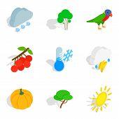 Wildlife Icons Set. Isometric Set Of 9 Wildlife Icons For Web Isolated On White Background poster