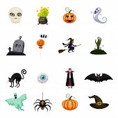 Set Of Halloween Feast, Collection Of Attributes Halloween Skull, Vampire, Witch Cauldron, Witch On  poster
