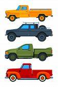 Vector Pickup Trucks. Various Illustrations Of Transport. Illustration Of Pickup Transport, Transpor poster