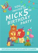 Birthday Card Invitation. Greeting Baby Invite Placard With Colored Pictures Of Wild Animals With Gi poster