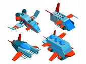 Spaceships Isometric. Space Technologies Cargo And Warships Aerial Bomber 3d Vector Low Poly Spacesh poster