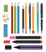 Pen And Pencils. Office Stationery School Colored Items Of Education Help Vector 3d Realistic Collec poster