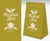 Paper Packaging With A Label For Herbal Tea. Vector Label For Herbal Tea With A Pattern Twig Tea And poster