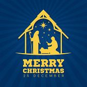 Merry Christmas Banner Sign With Nightly Christmas Scenery Mary And Joseph In A Manger With Baby Jes poster