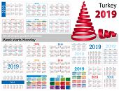 Set Of Simple Pocket Calendars For 2019 (two Thousand Nineteen). Week Starts Monday. Translation Fro poster