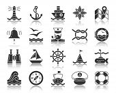Marine Silhouette Icons Set. Monochrome Web Sign Kit Of Nautical. Sea Knot Pictogram Collection Floa poster