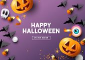 Happy Halloween Purple Frame Background poster