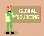 Writing Note Showing Global Sourcing. Business Photo Showcasing Practice Of Sourcing From The Global poster