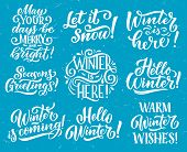 Winter Season Holidays And New Year Or Merry Christmas Celebration Lettering. Vector Snow Sketch Quo poster
