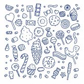 Huge Set Of Cartoon Doodle Form Candies And Sweets. Lollipop, Cotton, Donut And Striped Caramel. Out poster
