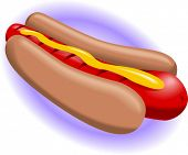 stock photo of hot dogs  - Vector Illustration of a Hot Dog with mustard - JPG
