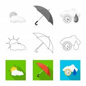Vector Illustration Of Weather And Weather Logo. Collection Of Weather And Application Stock Symbol  poster